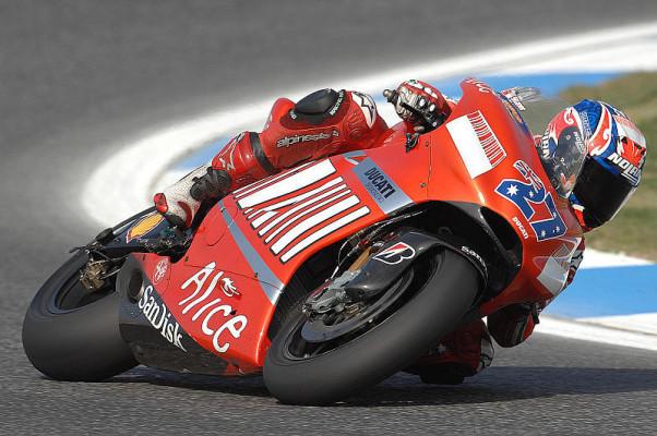 2. Training MotoGP: Stoner, Regen und Rutscher