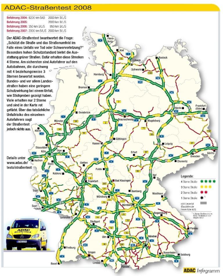 ADAC-Straßentest deckt Gefahrenpunkte auf