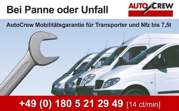 AutoCrew bietet Mobilitätsgarantie für Transporter, Nutzfahrzeuge und Wohnmobile