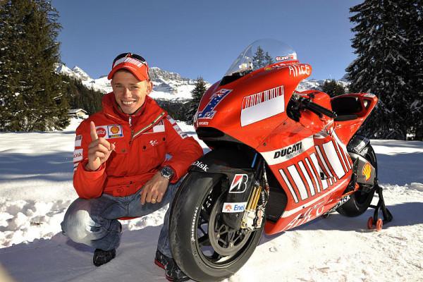 Stoner und Hayden fahren Ski: Ducati-Stars in Madonna di Campiglio