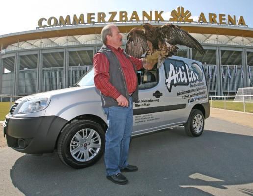 Maskottchen Attila fährt im Fiat Doblò Cargo
