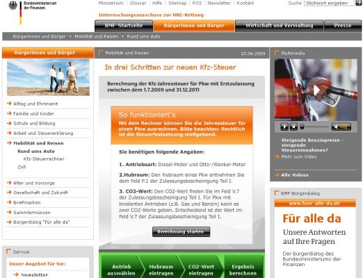 Neue Kraftfahrzeugsteuer ab Juli 2009: Kfz-Steuer-Rechner online