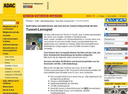 Tunnel-Informationen für die Reiseplanung