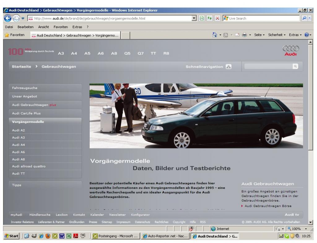 Audi startet Online-Serviceportal für Vorgängermodelle