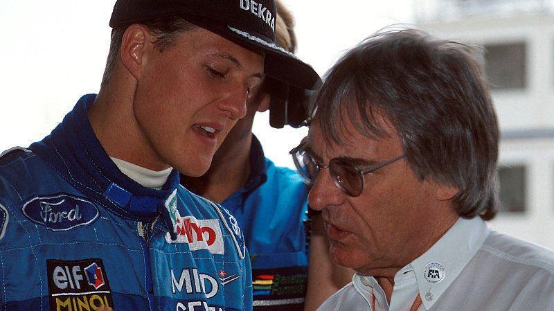 Motorsport: Schumacher-Comeback abgesagt: Verletzung zu schwer | Schumacher und Bernie Ecclestone