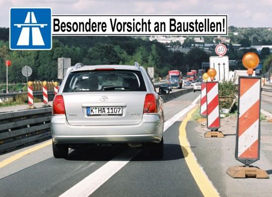 Jeder zweite Autofahrer an Autobahnenbaustellen unsicher