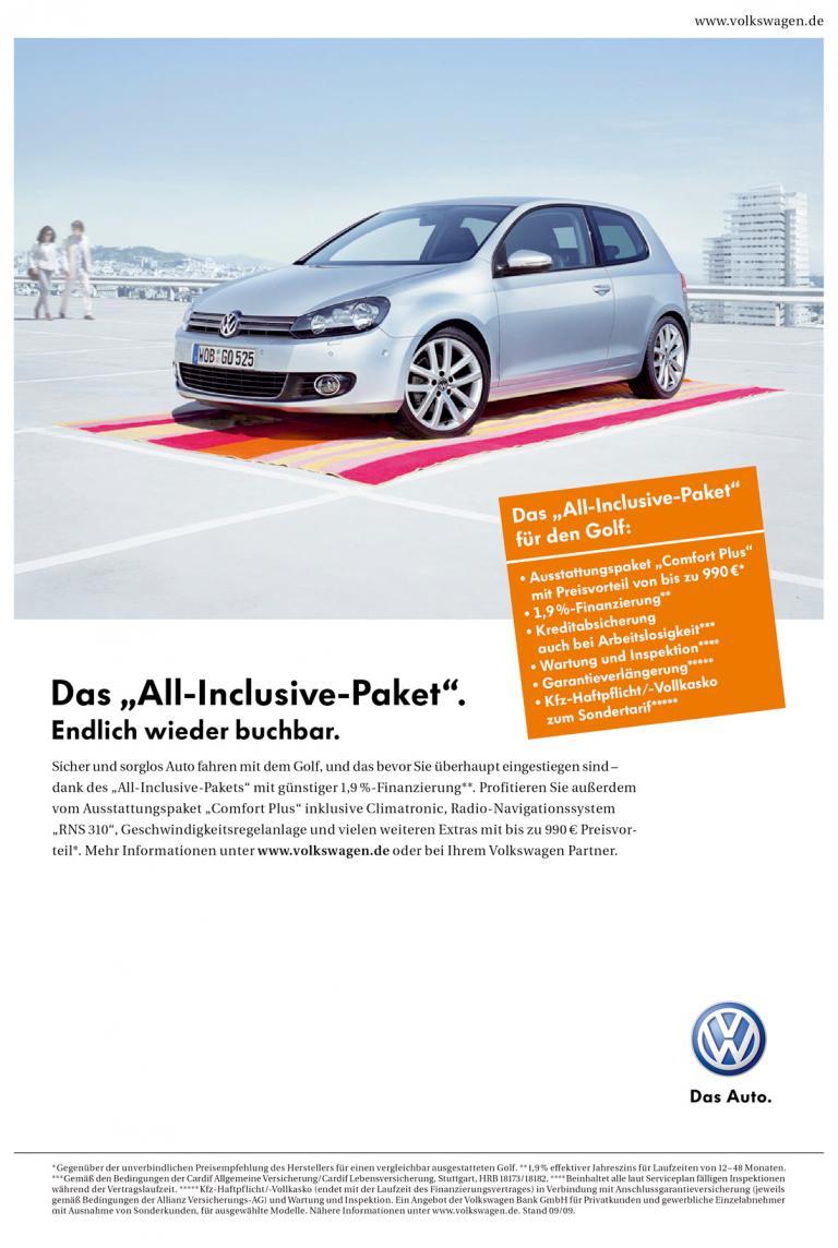 ''All-Inclusive''-Angebot von Volkswagen