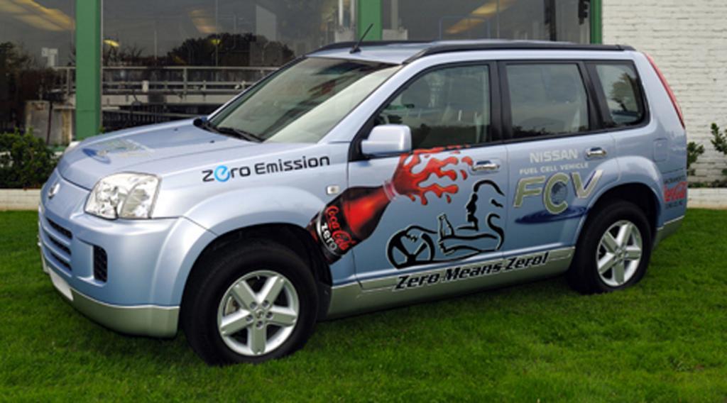 Null-Emissions-Auto bewirbt Null-Zucker-Limonade