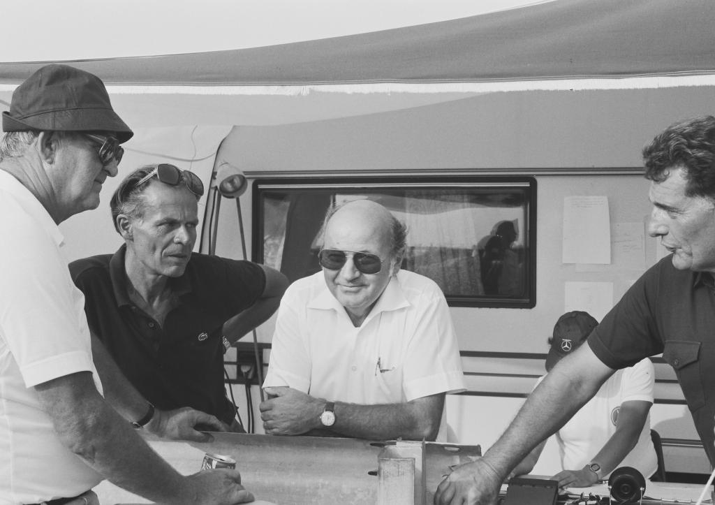 Rekordfahrt in Nardo über 5000 Kilometer (13. bis 21. August 1983): Hans Werner, Hans Liebold, Kurt Obländer und Erich Waxenberger (von links nach rechts).