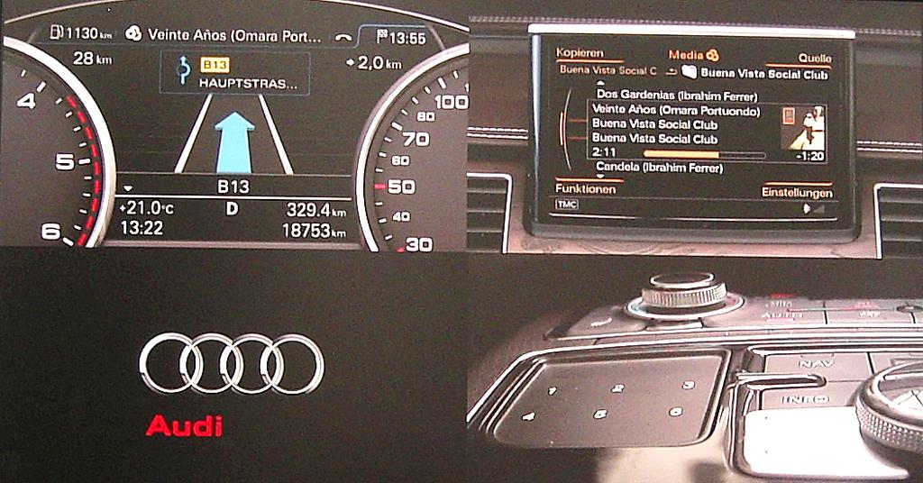 Audis neuer A8: Cockpit-Details auf Großmonitor.