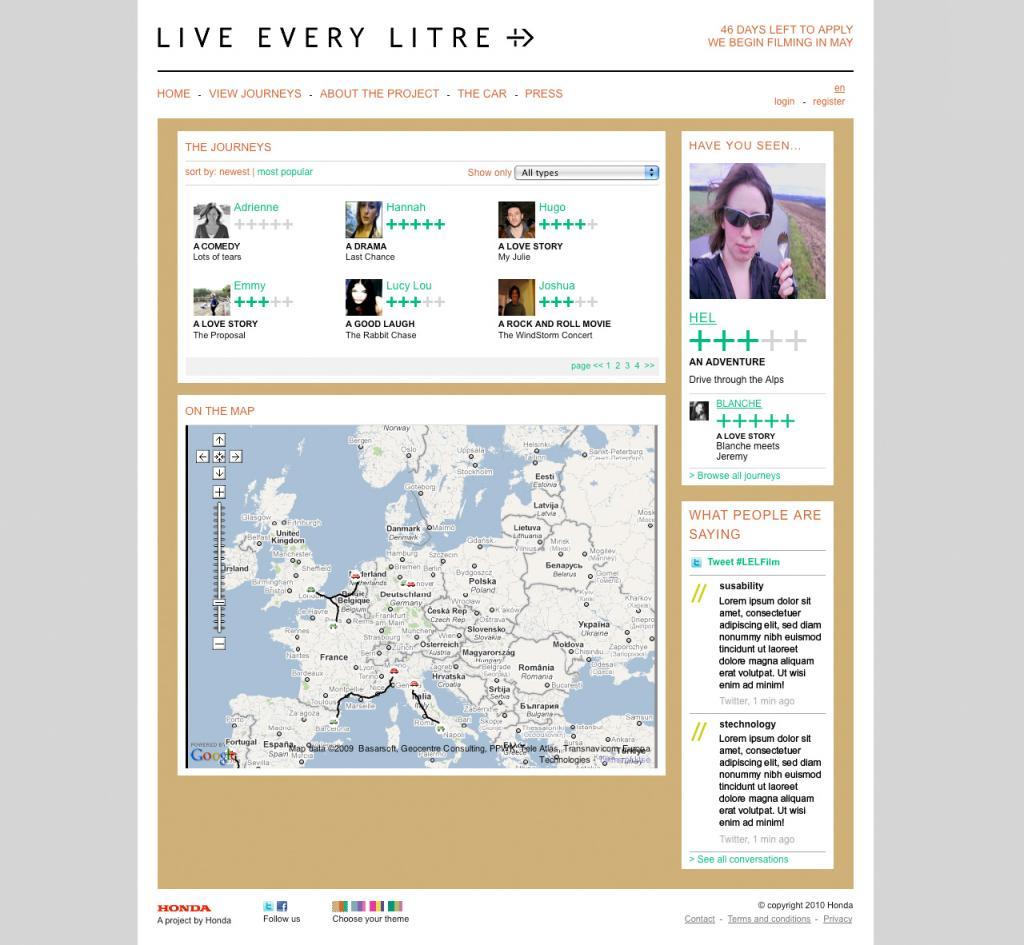 Live Every Litre website