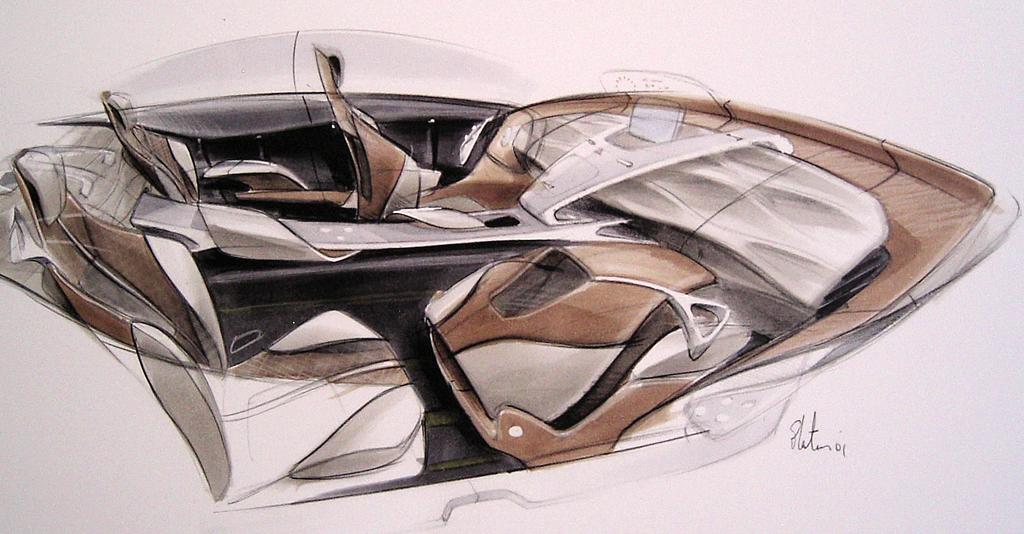 Mercedes-Design: Zeichnung zur Innenraum-Gestaltung des F800 Style.