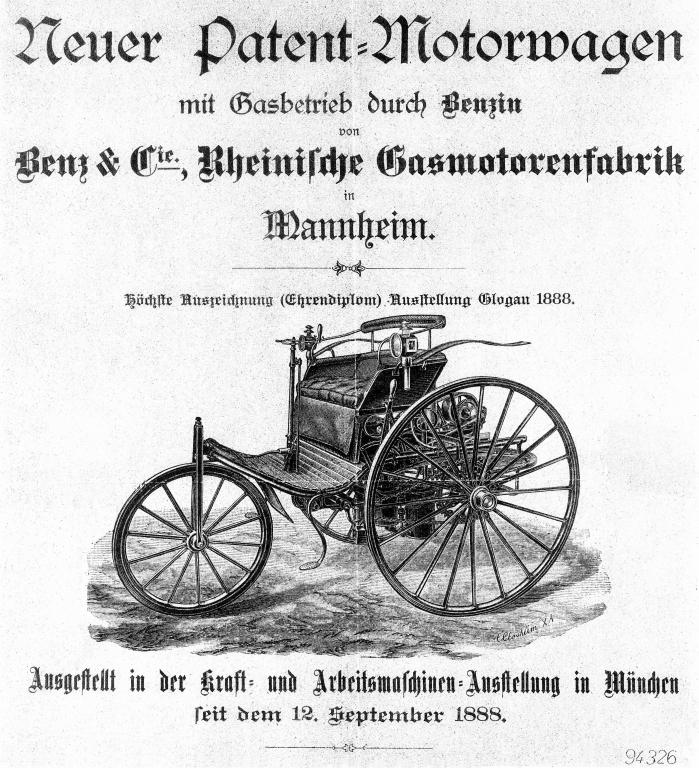 Benz Patent-Motorwagen Modell 3 mit 1,5 PS 2,5 PS und 3 PS Motoren Bauzeit 1886 bis 1894