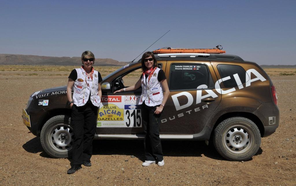 Isabelle Charles und Beifahrerin Dounia Bennani.