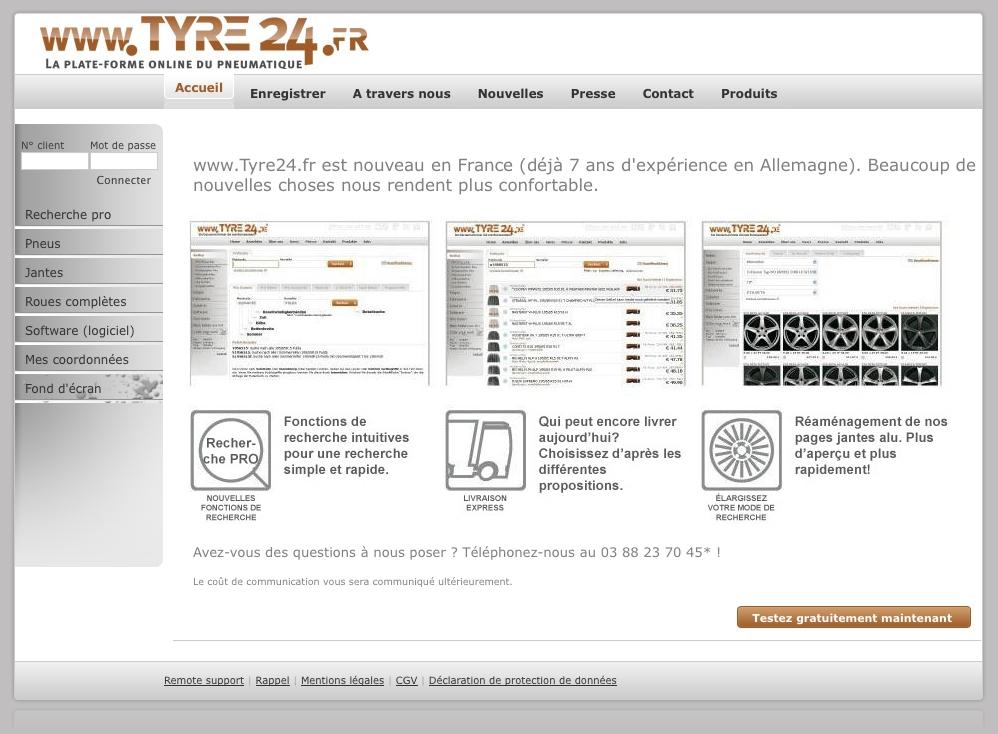 Tyre24 jetzt auch in Frankreich