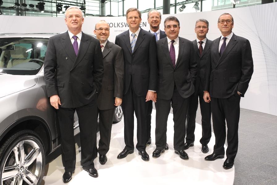 VW-Vorstand bei der Bilanzpressekonferenz in Wolfsburg.