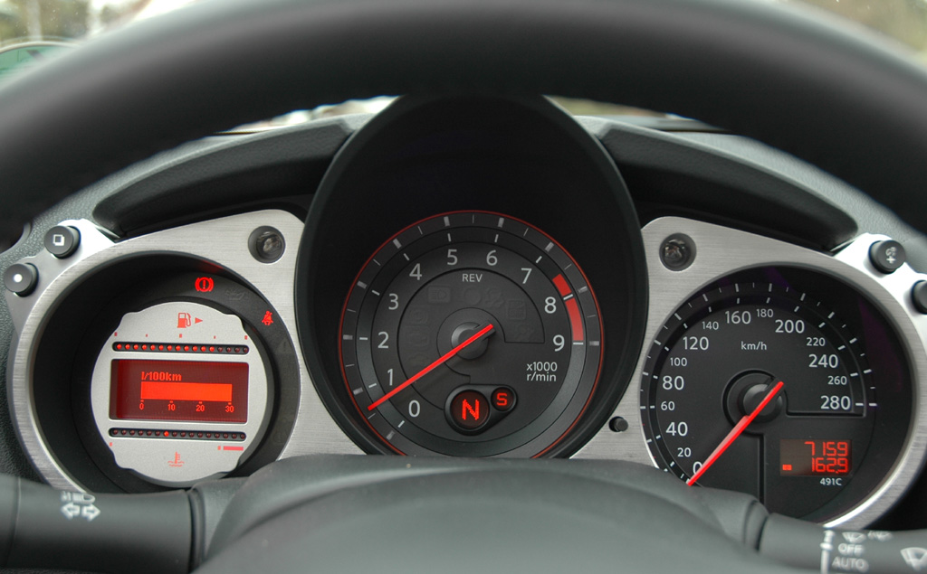 Blick auf die Rundinstrumente im Nissan 370Z-Roadster.