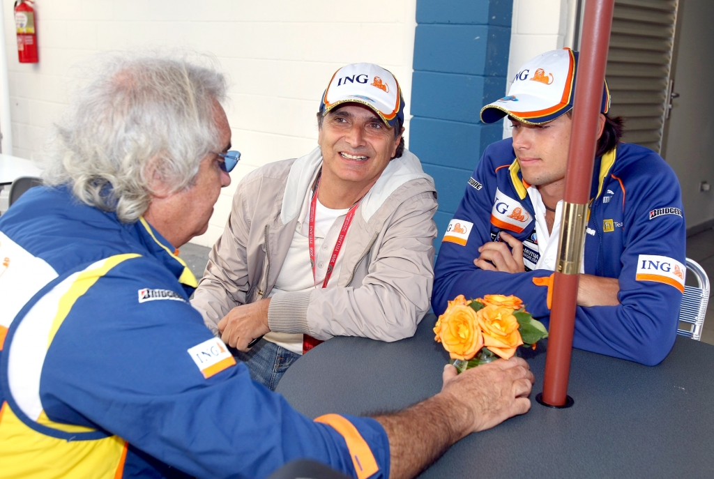 Flavio Briatore im Gespräch mit Nelson Piquet sen. und jr.