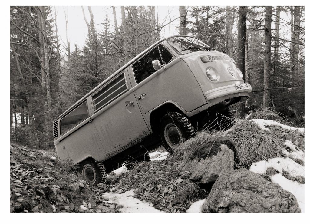 Schon Mitte der siebziger Jahre diente ein T 2 als Entwicklungsträger für den allradangetriebenen VW-Bus.