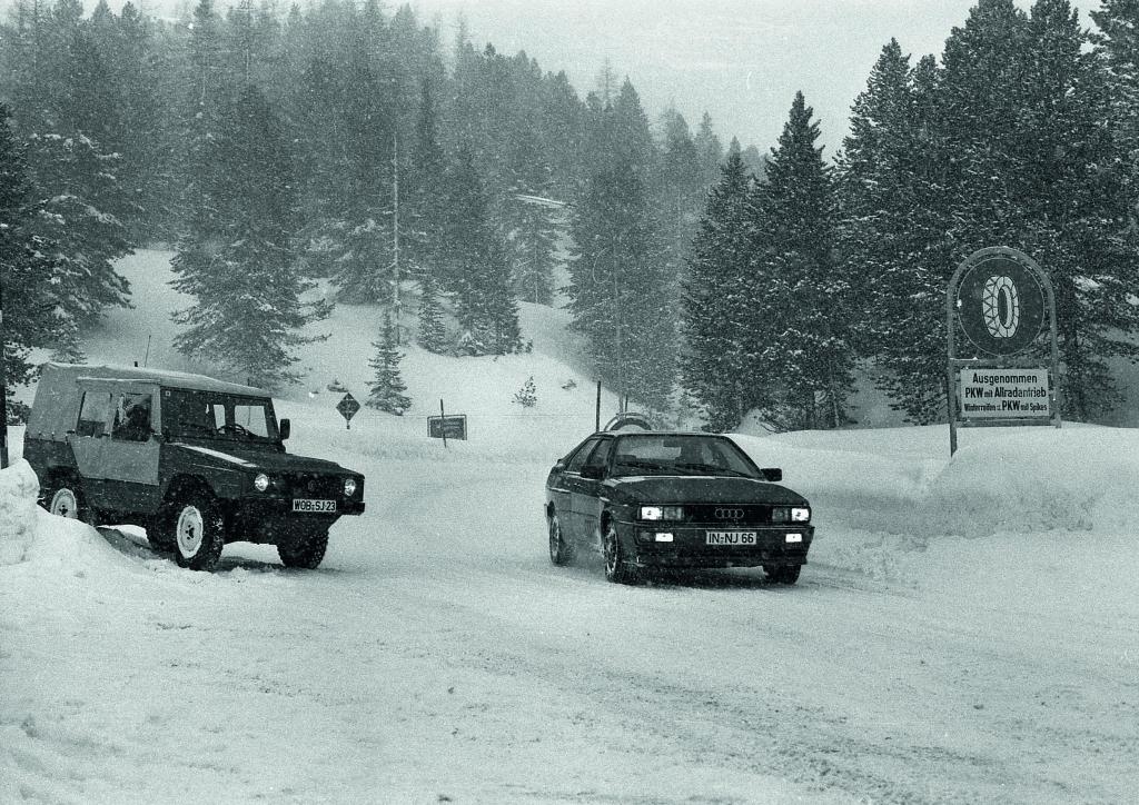 Winterspiele auf der Turracher Höhe: Bereits in der Testphase haben VW Iltis und Audi quattro den schneesicheren Pass zu Erprobungszwecken genutzt.