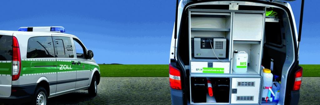 Zoll-Fahrzeug. Stabile Stromversorgung für Einsatzfahrzeuge.