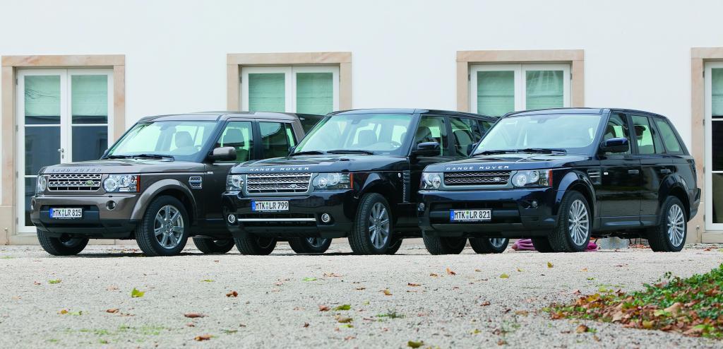 Land Rover Discovery, Rang Rover und Range Rover Sport (von links).