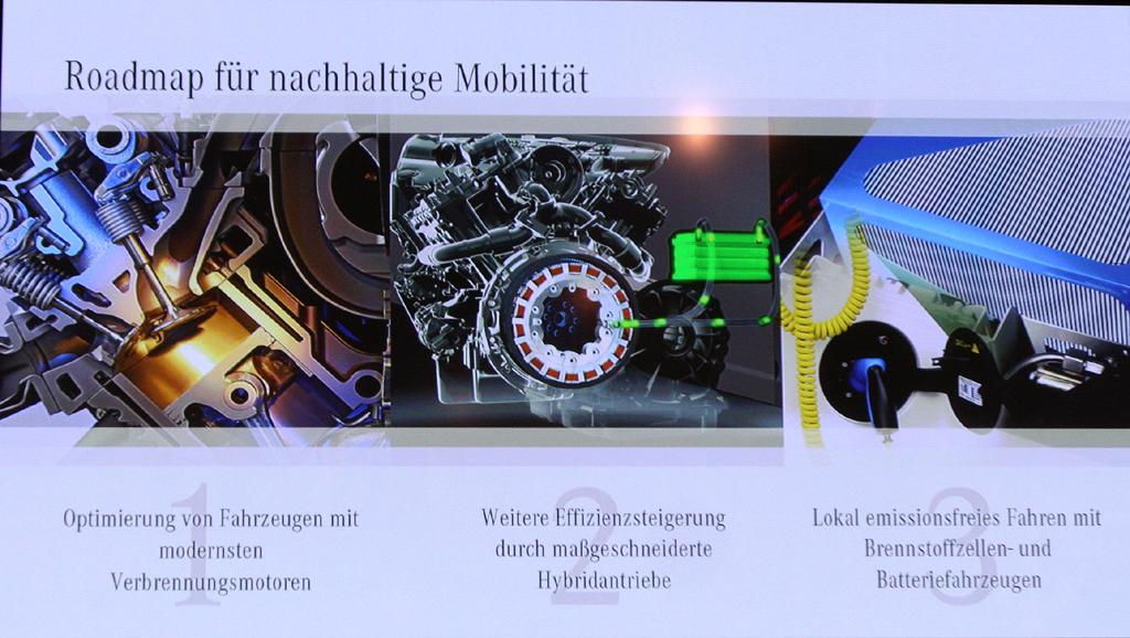 Mercedes Motoren: Weiter verbesserte Verbrennungsaggregate, maßgeschneiderte Hybridantriebe sowie lokal emissionsfreies Fahren mit Brennstoffzellen- und Batterieautos sind die drei Säulen der Mercedes-Roadmap für nachhaltige Mobilität.