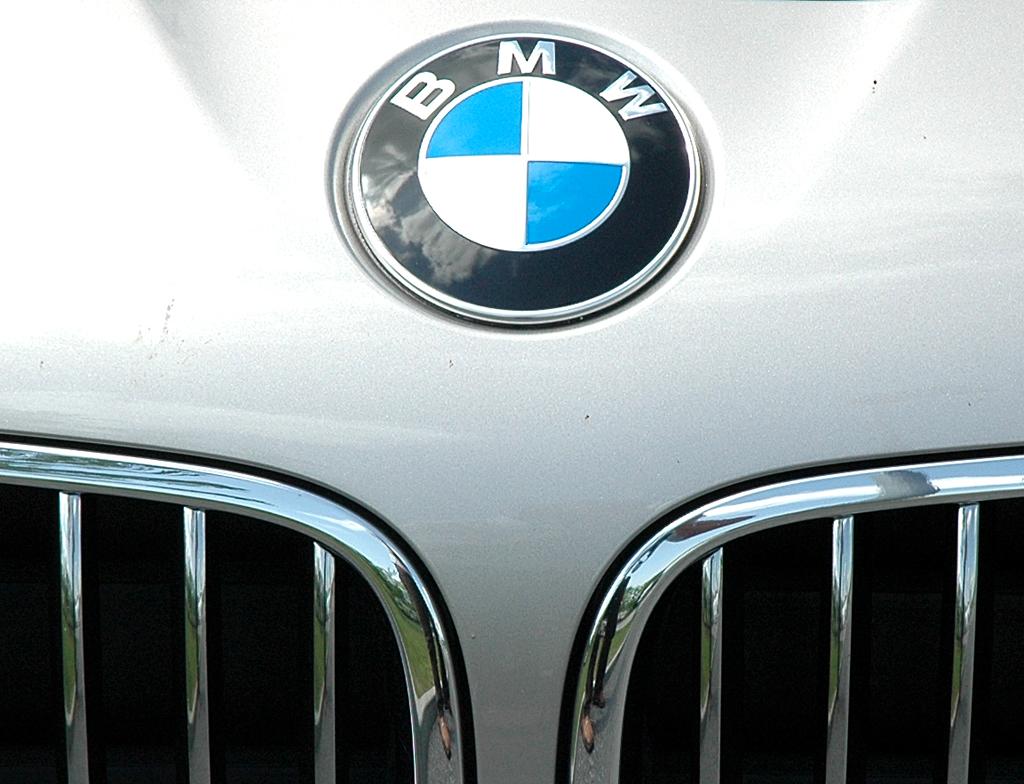 BMW 5er Touring: Kühlerniere mit Markenemblem oben auf der Haube.
