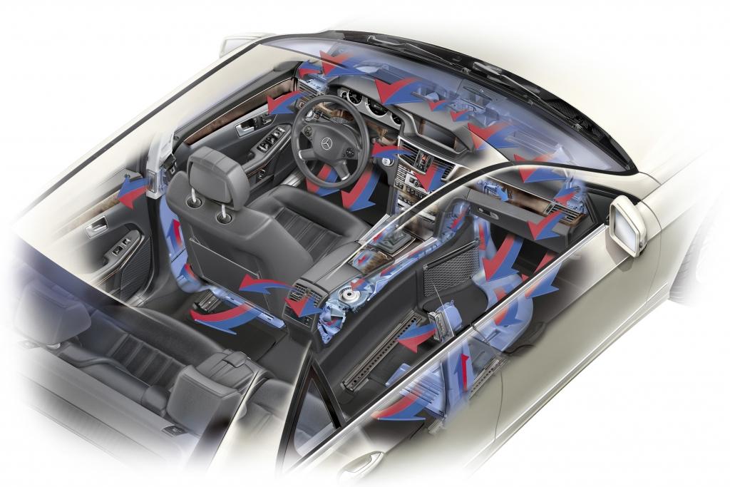 """Mercedes-Benz E-Klasse: Die neu entwickelte THERMOTRONIC bietet Drei-Zonen-Wohlfühlkomfort und individuelle Klima-Stile – zum Beispiel """"Diffuse""""."""