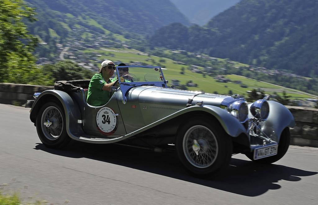 Silvretta 2010: Jürgen Vogel im Jaguar SS 100.