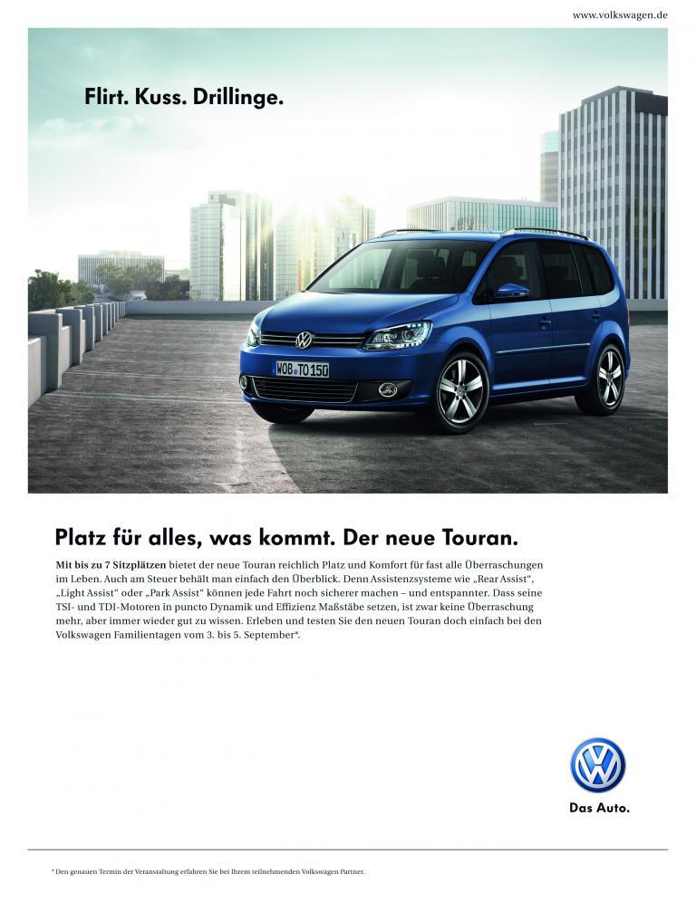 """Volkswagen Touran Kampagne """"Platz für alles was kommt""""."""
