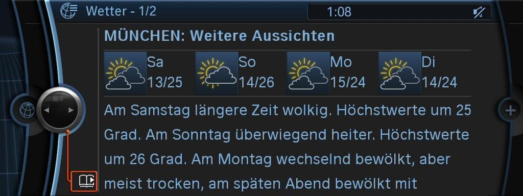BMW Connected Drive: Reise- und Freizeitplaner mit Wetterbericht.