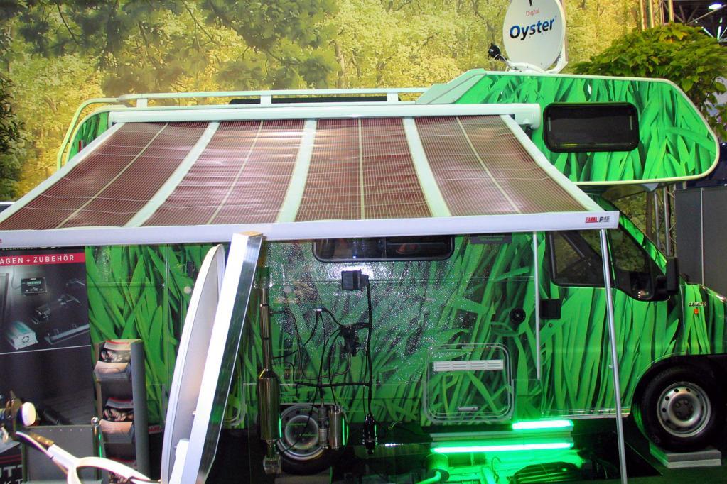Der Öko-Trend geht auch am Caravan-Salon nicht vorbei. Das Umweltmobil verfügt unter anderem über Solarzellen.