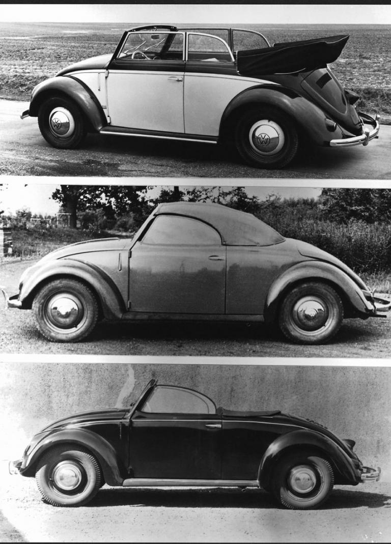 Die heute teuerste Art, einen Käfer zu fahren ist das Hebmüller Cabrio. Die beiden unteren Bilder zeigen Entwürfe.