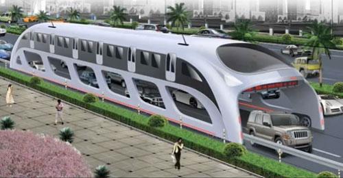 Entwurf der rollenden Bus-Brücke