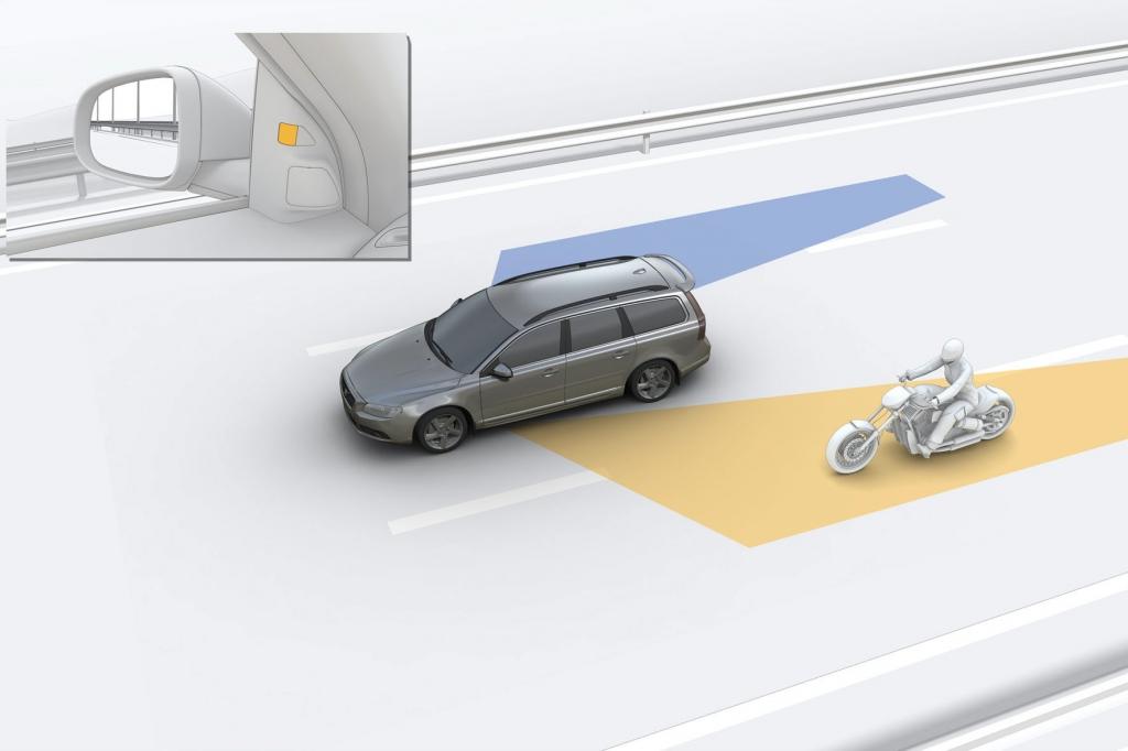 Mit einem Toten-Winkel-Assistenten wird der Fahrer auf Fahrzeuge außerhalb des Sichtfeldes hingewiesen.