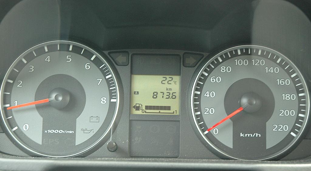 Mitsubishi Colt Autogas: Blick auf die Rundinstrumentierung.