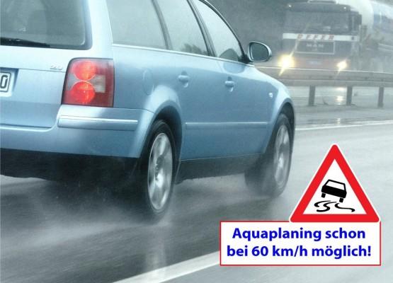 Ratgeber: Aquaplaning droht schon bei 60 km/h