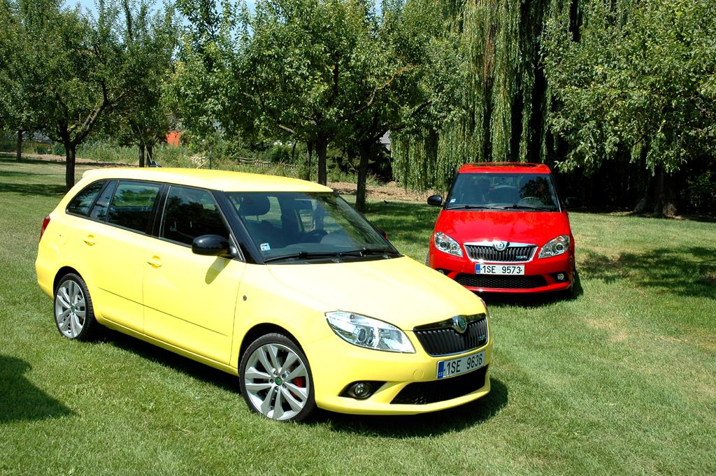 Skoda Fabia RS: Vorn steht der Combi, hinten die kleine Schrägheck-Limousine.