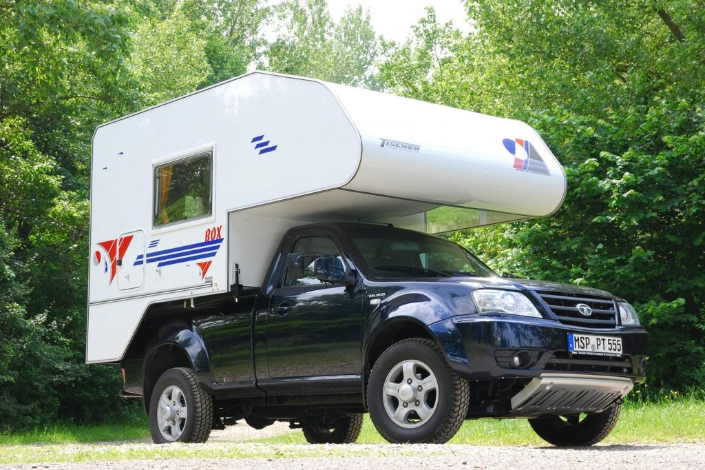 Unter 30 000 Euro gibt es den Pick-up Tata Xenon, auf dem eine Wohnkabine von Tischer aufgesetzt wird.