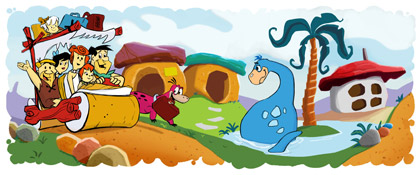 Google Doodle zum 50. Geburtstag der Feuersteins