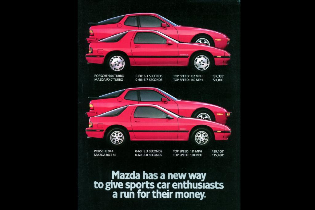 In der US-Werbung verglich Mazda den RX-7 ungeniert mit dem Porsche 944