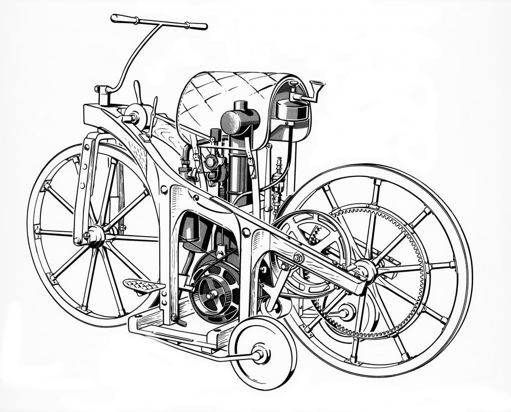 Daimler Reitwagen von 1885.