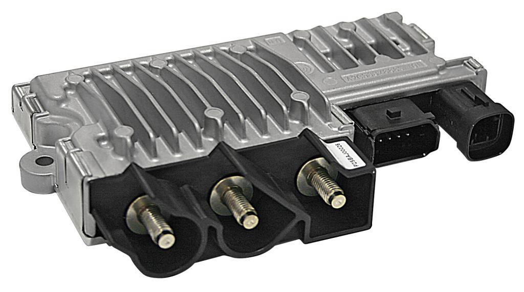 Die Elektronik in diesem E-Booster genannten Modul steuert die Wiederaufladung der Superkondensatoren während der Rekuperation.
