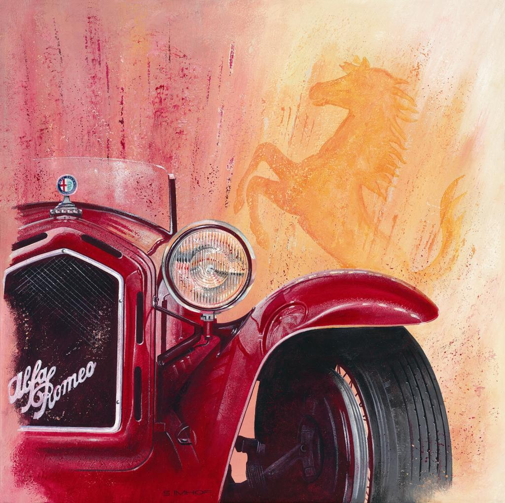 Maler Steffen Imhof zeigt Alfa Romeo in Acryl