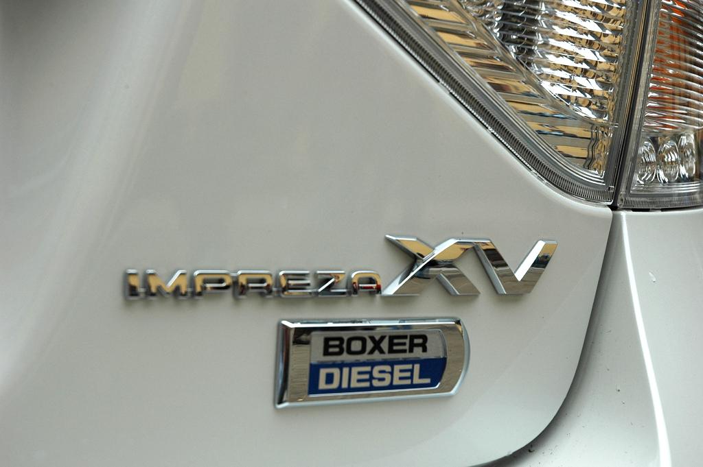 Subaru Impreza XV: Modellschriftzug mit Hinweis auf die Selbstzünder-Motorisierung.