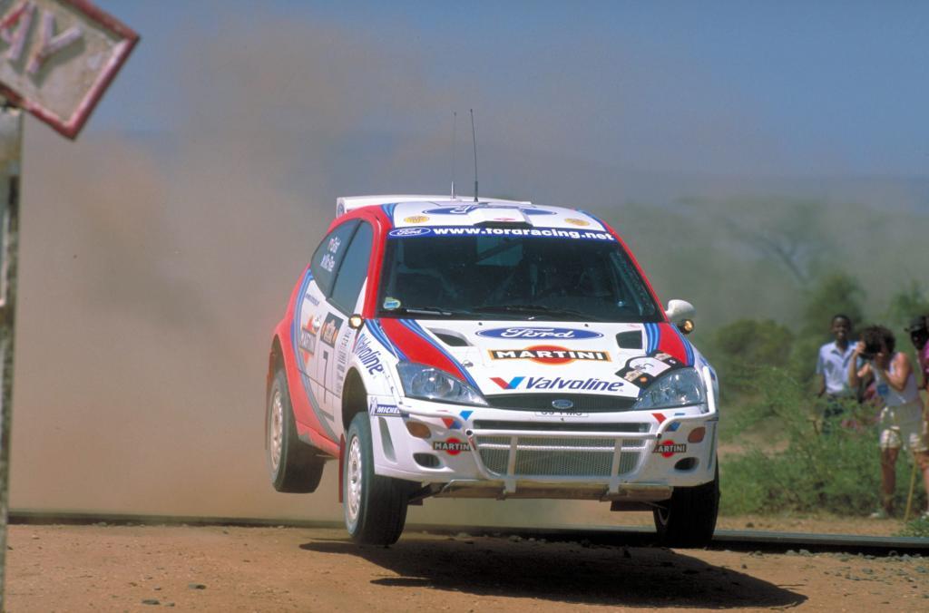 Ford Focus RS WRC der ersten Generation bei der Safarai-Rallye Kenia 1999.