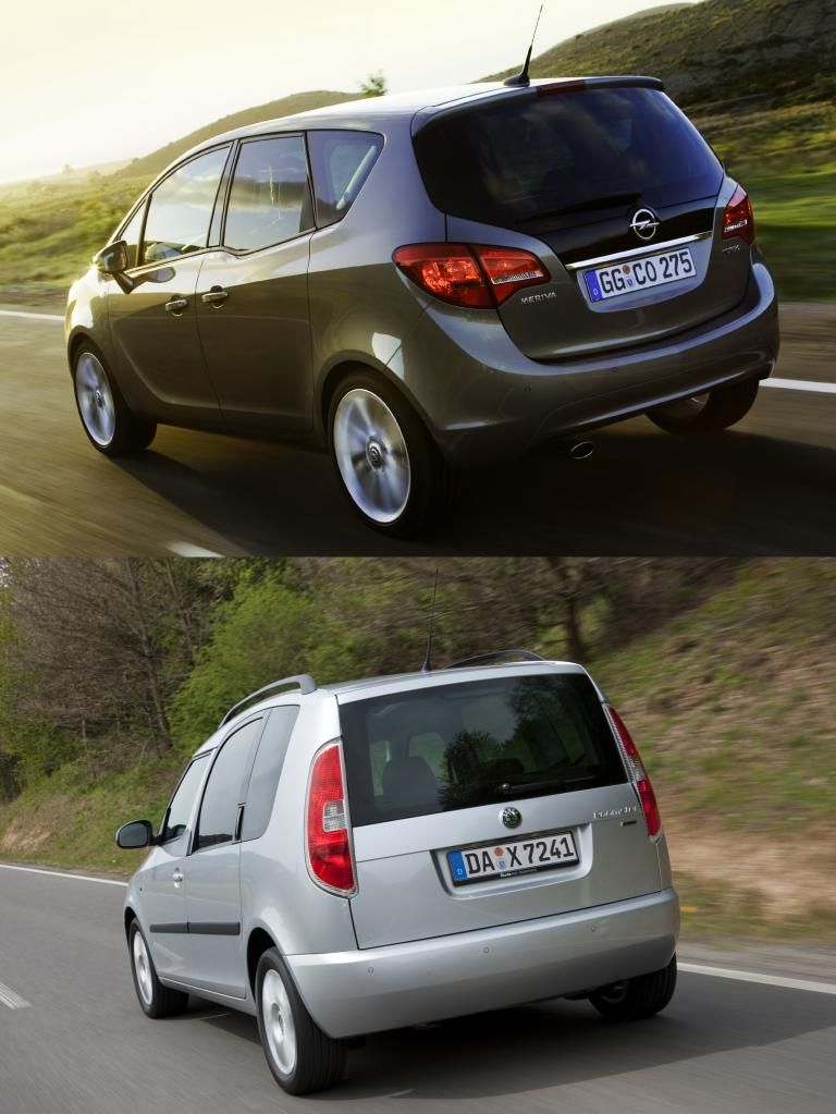 Raumwunder im Vergleich: Opel Meriva gegen Skoda Roomster
