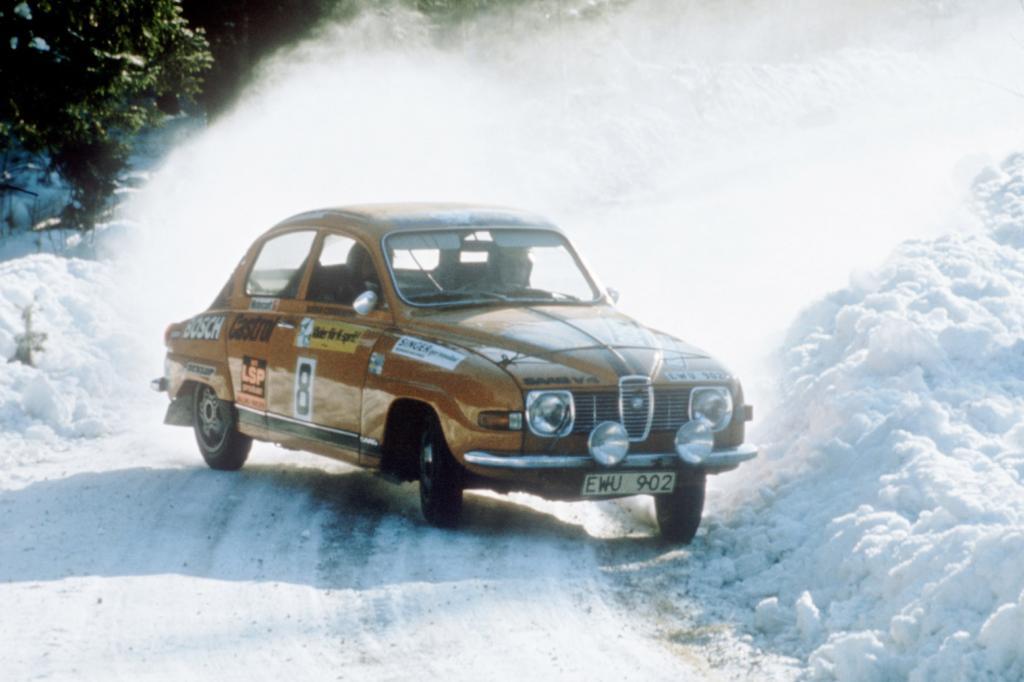 Saab 96 bei der Schweden Rallye 1975