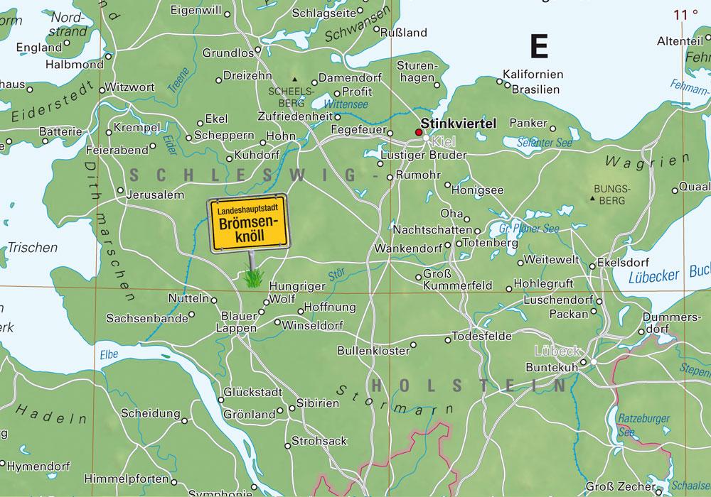 Weihnachtsgeschenk für Humorvolle - der Atlas der 999 seltsamen Ortsnamen, Bild: Kalimedia